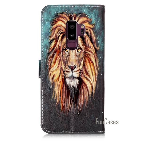 The New Varnish PU Leather Case Mobile Phone Protection Shell For Samsung Galaxy S9 Plus Comprehensive Protection Simple