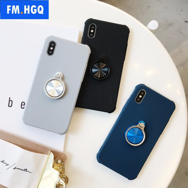 Ultra Thin Phone Cases Magnetic Car Holder Case For IPhone X 10 Case Finger Ring Phone Cover For IPhone 7 8 Plus Cover Capa
