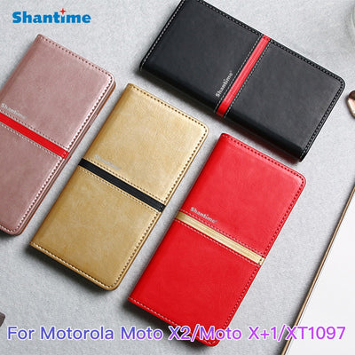 Vintage Leather Case For Motorola Moto X2 Case Tpu Soft Silicone Back Cover Book Case For Moto X+1 XT1097 Business Phone Case