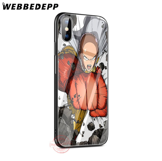 WEBBEDEPP One Punch Man Tempered Glass Phone Case For Apple IPhone XS Max XR X 8 7 6S Plus 5S SE Cover