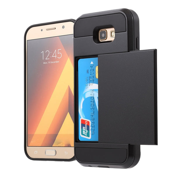 Wallet Case For Galaxy A7 2017, Rugged Hybrid Dual Layer Card Slot Holder Hidden Pocket Cover For Galaxy A7 2017 ( 3 Colors )