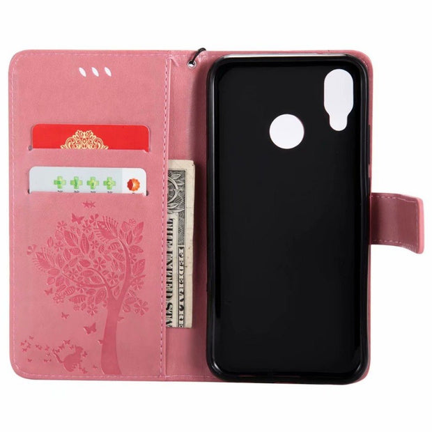 Wallet Flip Leather For Huawei P20 Pro Lite Cover Soft TPU Stand Holder Cat Tree For Wahway Honor P10 Plus Lite Case Coque 2018