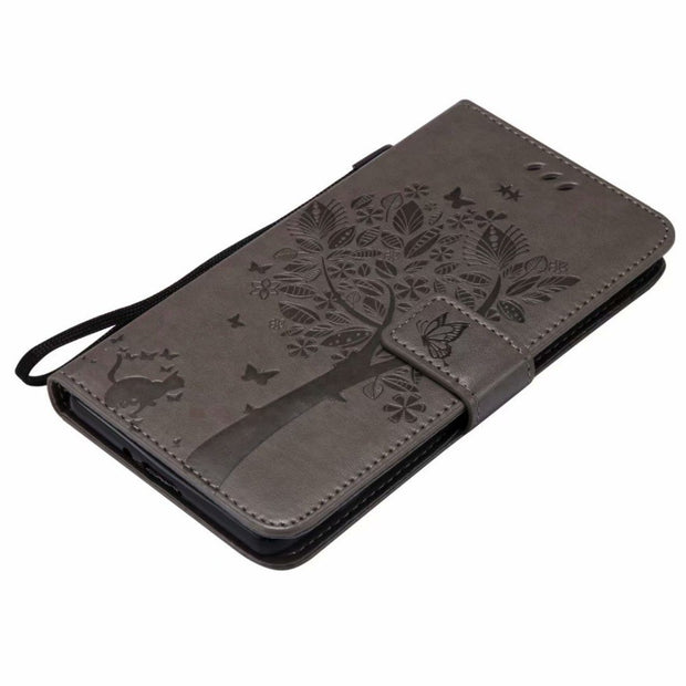 Wallet Flip Leather For Sony XZ2 XZ1 Compact Cover Soft TPU Stand Holder Cat Tree For Xperia L2 L1 E6 XA2 XA1 Z5 Premium Case XZ