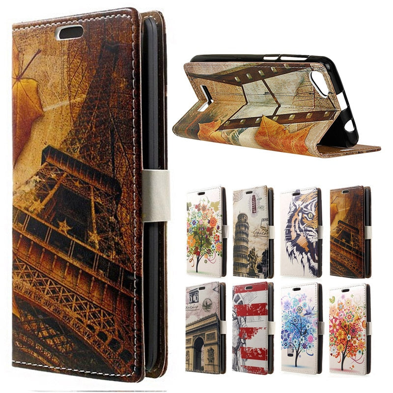 "( Wiko Lenny 3 Max ) Case Fashion Maple Tower Skin Leather Wallet Flip Cover SFor Wiko Jreey Max 5.5"" Mobile Phone Cases Coque"