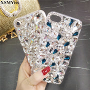 XSMYiss Bling Rhinestone Big Crystal Diamond And Soft Back Phone Case Cover For IPhone X 7 8 7/8Plus 6 6s Plus 5 5S SE 5C