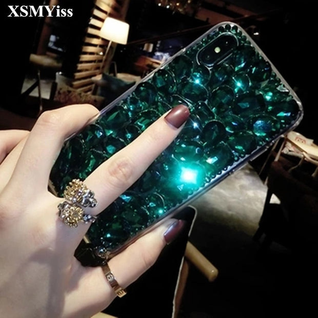 XSMYiss For Samsung S4 S5 S6 S7 Edge Plus Note 3 4 5 Luxury Glitter Back Cover Crystal Bling Diamond Rhinestone Phone Case