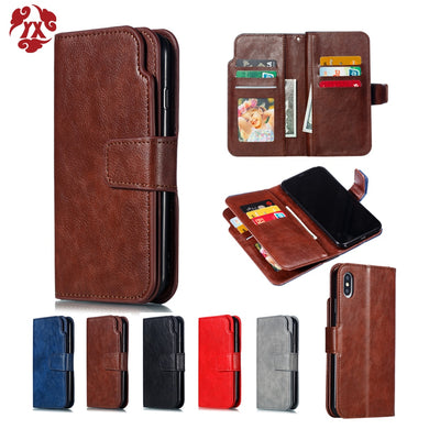 YX For Apple Iphone XS Max XR Multifunctional Flip Wallet Leather Case For Iphone X 6 6S 7 8 Plus 5 5S SE Cover 9 Cards Slot
