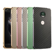 ZEALLION For Motorola Moto Z Play Luxury Plating Aluminum Metal Frame + Carbon Fiber Hard PC Shockproof Back Cover