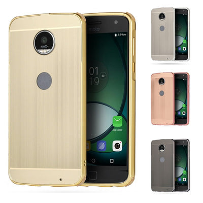 ZEALLION For Motorola Moto Z2 Play Case 2 In 1 Plating Metal Aluminum Frame Slim Brushed PC Protection Back Cover
