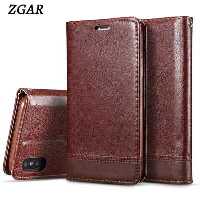 ZGAR Cover Case For IPhone X 10 Magnetic Wallet Phone Bags Cases For IPhoneX X 10 With Lanyard Card Holders Anti Knock Coque