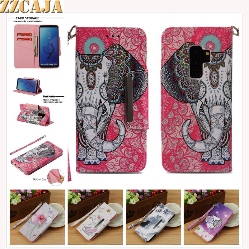 ZZCAJA For Samsung Galaxy S8 S9 Plus Case Cute Animal Tiger Elephant Panda Flower Flip Leather Wallet Cover For S7 S7 Edge Funda