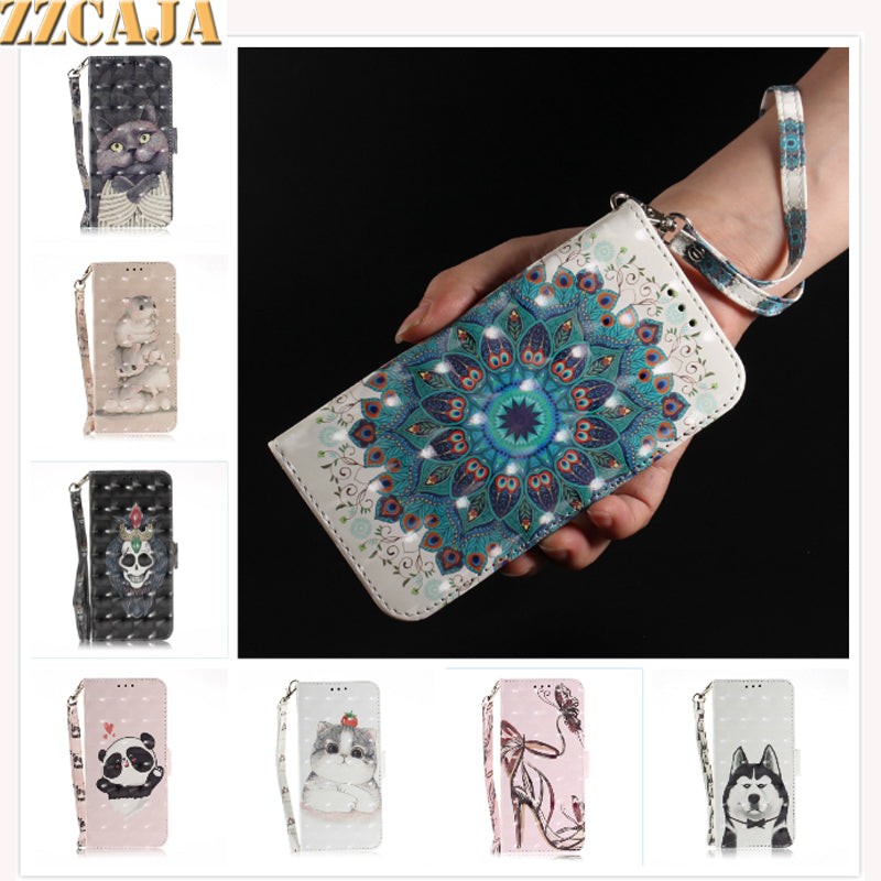 ZZCAJA Shell For Honor 10 9Lite 7A Case Cute Animal Cat Luxury 3D View PU Leather Wallet Flip Cover For Enjoy 7S 8 Plus Funda