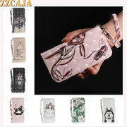 ZZCAJA For Samsung J3 J5 J7 2017 Case Luxury 3D View Cute Animal Cat Dog PU Leather Wallet Flip Cover For J4 J6 J8 2018 Fundas