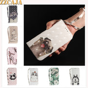ZZCAJA For Samsung S8 S9 Plus Case Luxury 3D View Cute Animal Cat Dog PU Leather Wallet Flip Cover For A6 A8 Plus 2018 Fundas