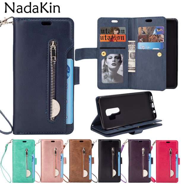 Zipper Wallet 9 Card Pockets Functional Book Case For Samsung Galaxy S6 S7 Edge S8 S9 A6 Plus J4 J6 J8 2018 Note 8 9 A5 A7 2017