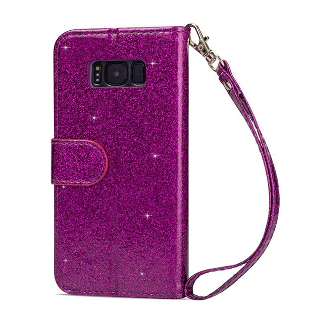Zipper Wallet Cases For Samsung Galaxy S8 S9 Plus Flip Glitter Leather Kickstand Protection Lanyard S8 Plus Phone Cover