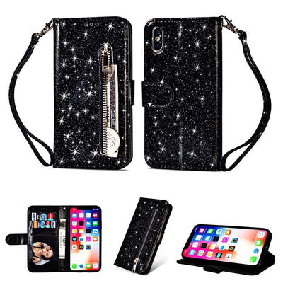 Zipper Wallet Leather Case For IPhone X Xr Xs Max 8 7 Plus Soft Bling Glitter Cover For IPhone 10 8 7 6 6s Plus Flip Phone Cases