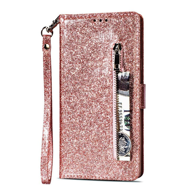 Zipper Wallet Note 9 Cover Glitter For Samsung Galaxy Note 8 Case Flip Leather Kickstand Protection Phone Bag Silver