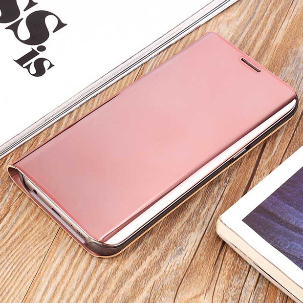 Zxtrby Smart View Case For Samsung Galaxy S6 S7 Edge Luxury Flip Stand Mirror Flip Phone Cover Clear Screen PC Shell