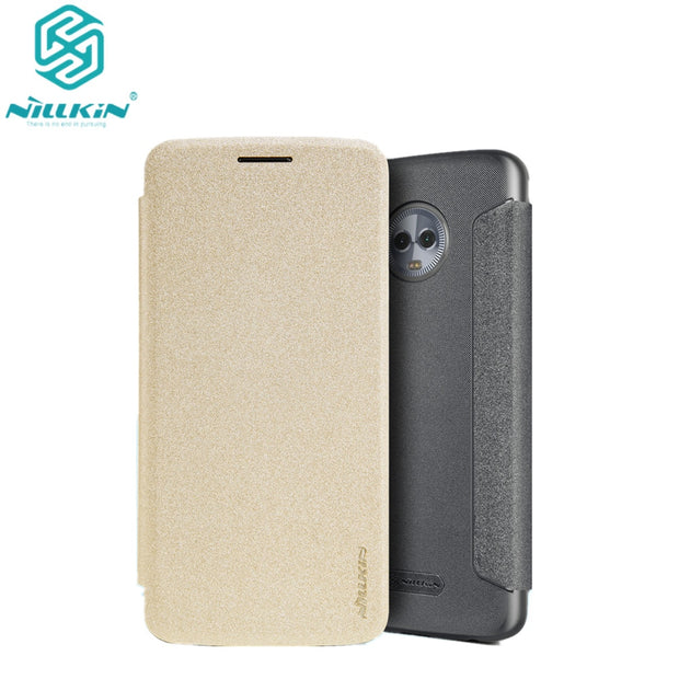 For Motorola Moto G6 Flip Case NILLKIN Sparkle Series Plastic PU Leather Case For Moto G6 (5.7'') Case Flip Cover Free Shipping