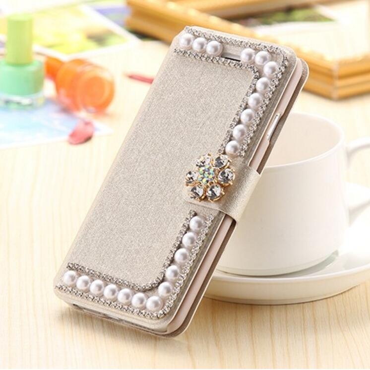 For IPhone 7 6 6s Plus 5s SE Luxury 3D Bling Diamond Flower Pearl PU Leather Flip Wallet Stand Card Holder Phone Case Cover