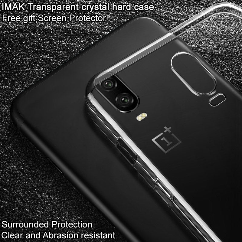 IMak Premium Transparent PC Case For OnePlus 6T A6010 Phone Cover Hard Plastic Back Case For One Plus 6T 1+6T Clear Cover
