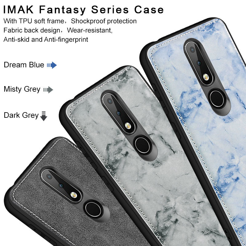 SFor Nokia X6 Case IMAK Fantasy Serise Fabric Silicone Shockproof Protection Back Cover Case For Nokia 6.1 Plus With Film