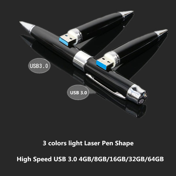 3 colors light Laser Pen Shape USB 3.0 Flash Drive 4gb 8gb 16gb 32gb 64gb Usb disk USB pen drive Memory Stick pendrive U Disk