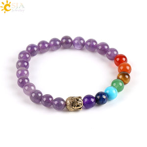 Natural Purple Bracelets 7 Chakra Gem Stone Beads