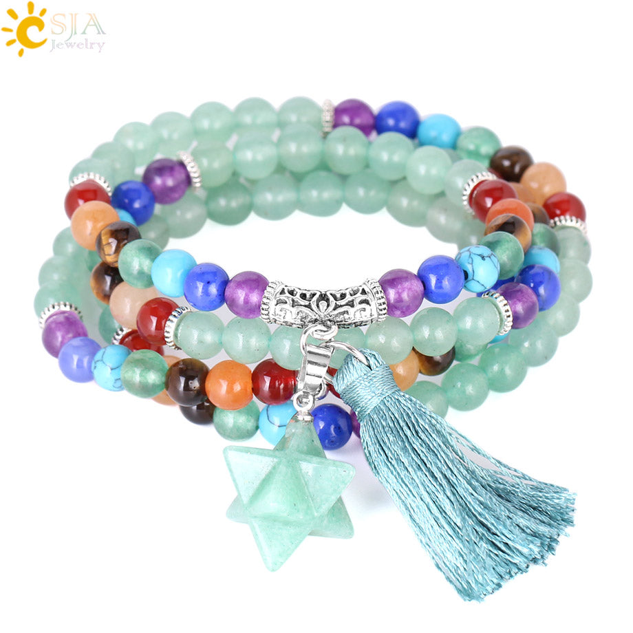 Green Aventurine Multi-layer 108 Meditation Beaded Bracelets