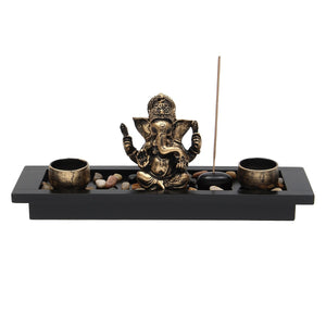 Elephant Ganesha Meditation Statue Candle Holders