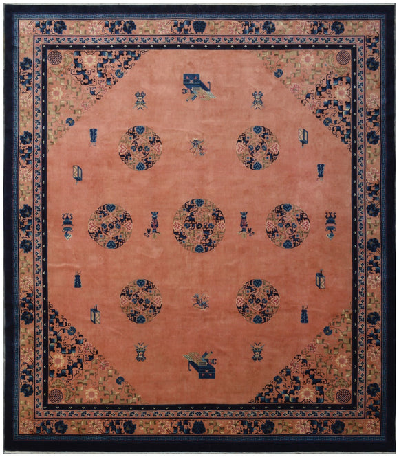 Handmade Antique Chinese Art Deco Rug | 410 x 369 cm - Najaf Rugs & Textile
