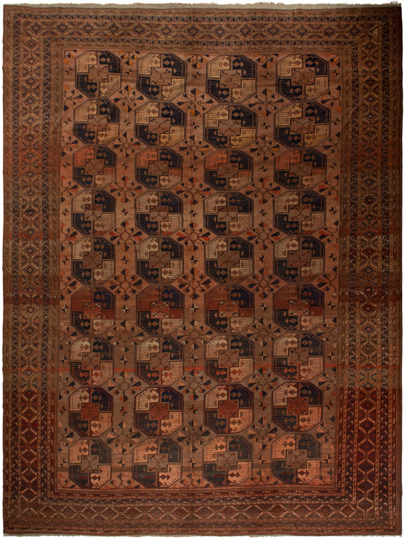 Handmade Antique Vegetable Dye Turkmen Rug | 494 x 370 cm