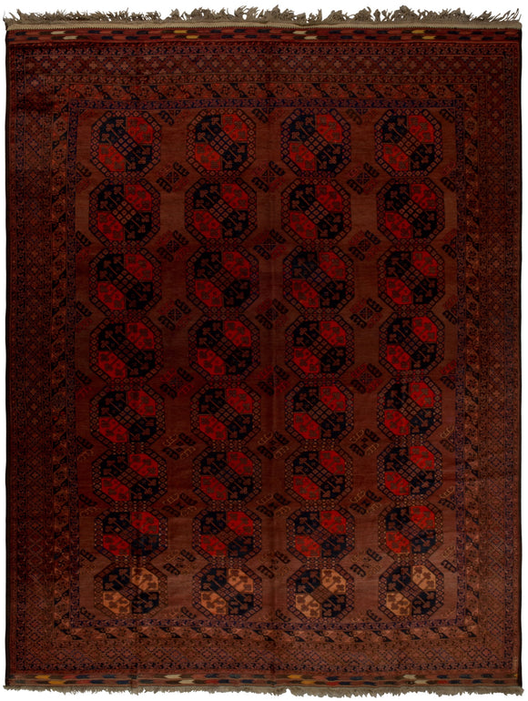 Handmade Antique Vegetable Dye Turkmen Rug | 419 x 312 cm