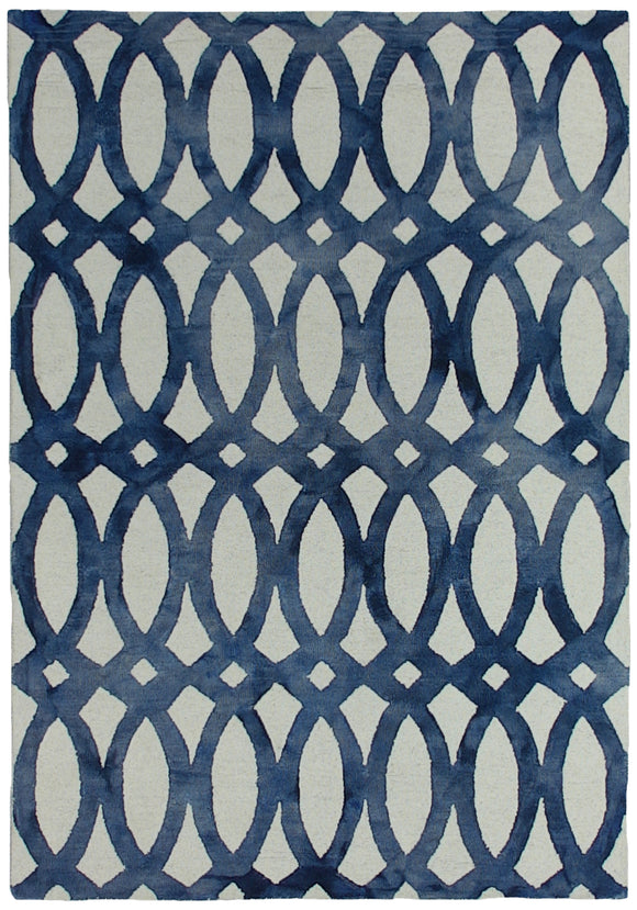 Handtufted Modern Dip Dyed Navy Blue Rug
