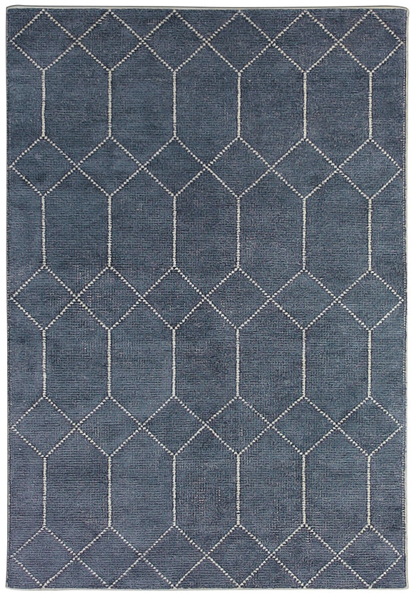 Handwoven Modern Distressed Geometric Diamond Rug