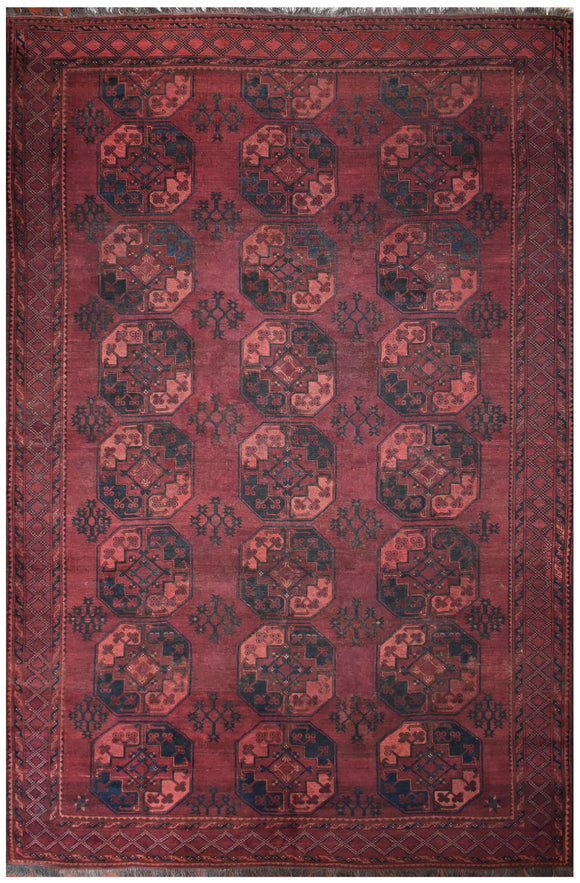 Handmade Antique Vegetable Dye Turkmen Rug | 349 x 256 cm | 11'4