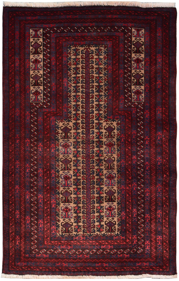 Handmade Tribal Afghan Balouch Prayer Rug | 135 x 91 cm | 4'5