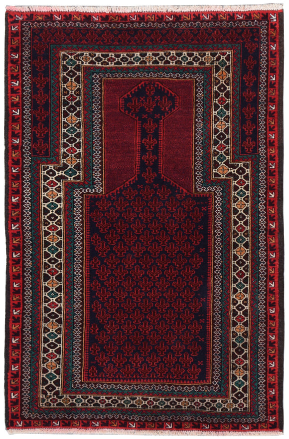 Handmade Tribal Afghan Balouch Prayer Rug | 135 x 90 cm | 4'5