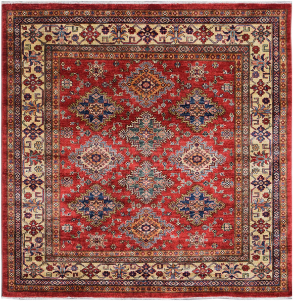 Handmade Traditional Super Kazakh Square Rug | 182 x 183 cm | 6' x 6'