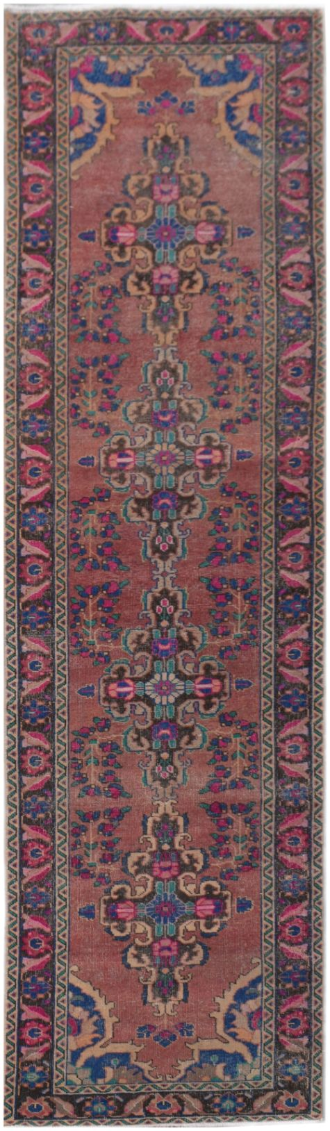 Handmade Tribal Abrash Collection Hallway Runner | 400 x 101 cm | 13'1