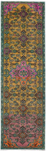 "Handmade Tribal Abrash Collection Hallway Runner | 287 x 76 cm | 9'5"" x 2'5"""