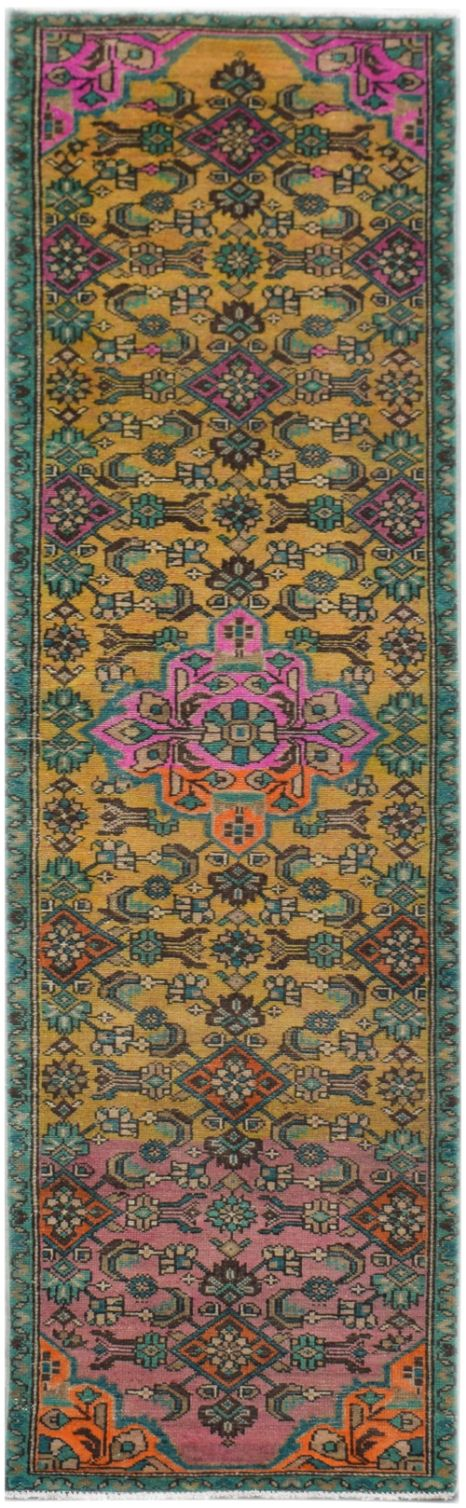 Handmade Tribal Abrash Collection Hallway Runner | 287 x 76 cm | 9'5