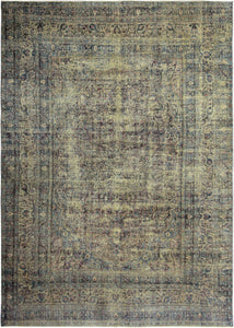 "Handmade Antique Persian Kerman Rug | 359 x 256 cm | 11'7"" x 8'4"""
