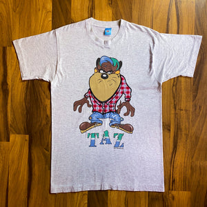 VINTAGE 1994 TAZ LOONEY TUNES PLAID EMBROIDERED AND GRAPHIC PRINTED T-SHIRT