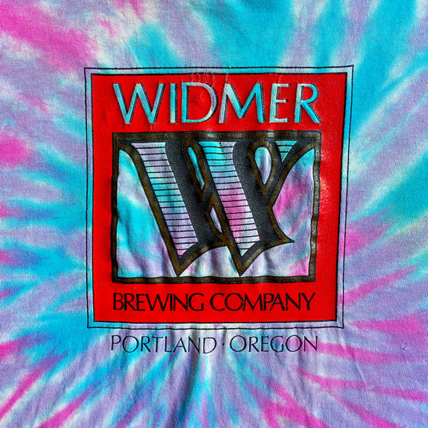 VINTAGE WIDMER BREWING COMPANY PORTLAND OREGON TIE-DIE GRAPHIC PRINTED T-SHIRT