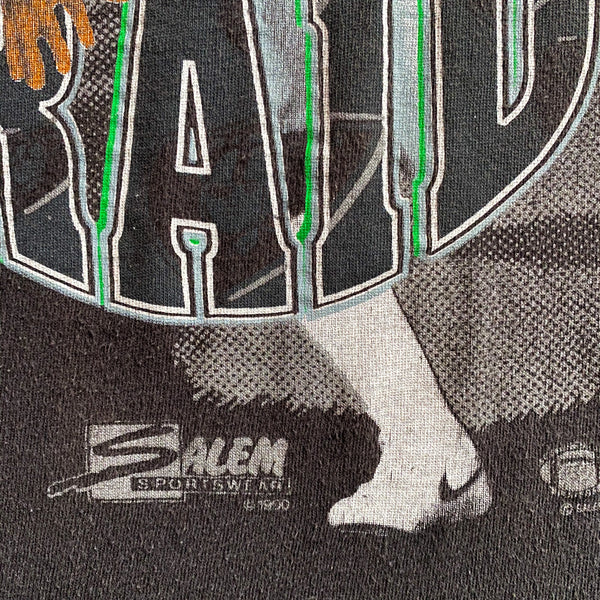 VINTAGE 1990 BO JACKSON LOS ANGELES RAIDERS NFL SALEM SPORTSWEAR GRAPHIC PRINTED T-SHIRT