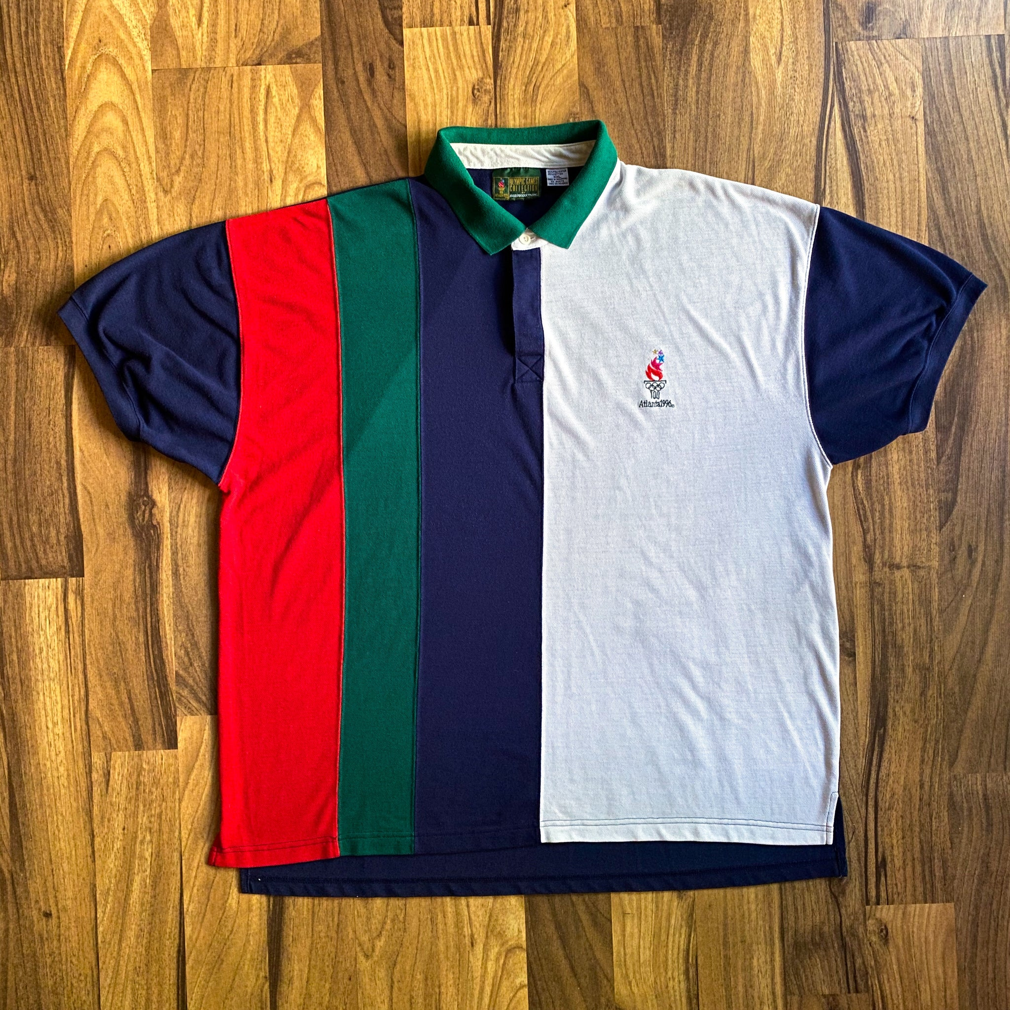 VINTAGE 1996 ATLANTA OLYMPIC GAMES STRIPED CONTRAST POLO SHIRT