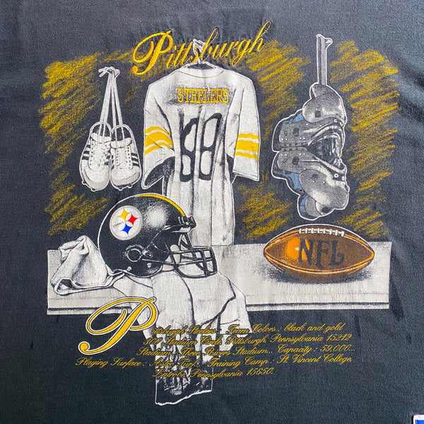 VINTAGE PITTSBURGH STEELERS NFL NUTMEG MILLS EMBROIDERED AND GRAPHIC PRINTED T-SHIRT
