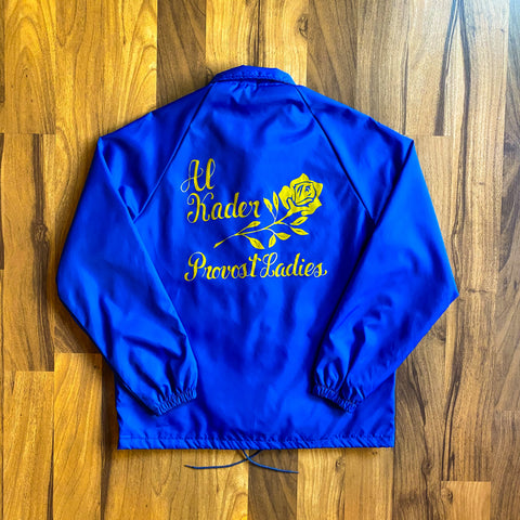 "VINTAGE SWINGSTER COACHES JACKET ""AL KADER PROVOST LADIES"" W/ ""THELMA"" EMBROIDERY"